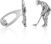 Forzieri Sterling Silver Golfer Florentine Handmade Cufflinks