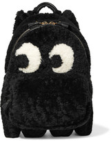 Anya Hindmarch Ghost Leather-trimmed Shearling Backpack - Black