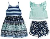 Youngland Toddler Girl Printed Sleeveless Dress, Popover Top & Shorts Set