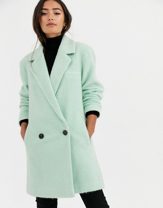 Asos DESIGN longline brushed oversized coat in mint