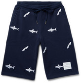 Thom Browne Slim-Fit Shark-Embroidered Loopback Cotton-Jersey Shorts
