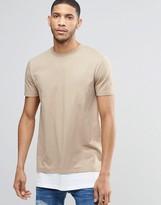 Asos Super Longline T-shirt In Khaki With Contrast Hem Extender
