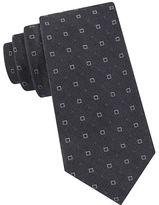 Black Brown 1826 Open Ground Square Neat Silk-Blend Tie