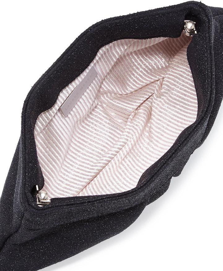 Lauren Merkin Eve Iridescent Textured Snap Clutch, Black