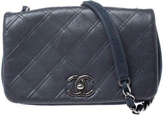 Chanel Grey/Navy Blue Quilted Leather Small Crossbody Bag