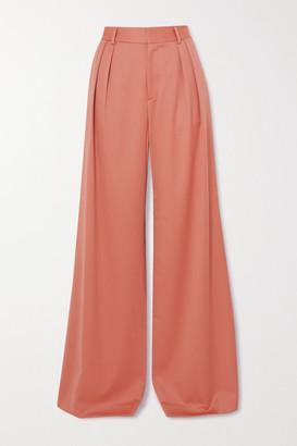 Alice + Olivia Eric Pleated Wool-blend Wide-leg Pants - Blush