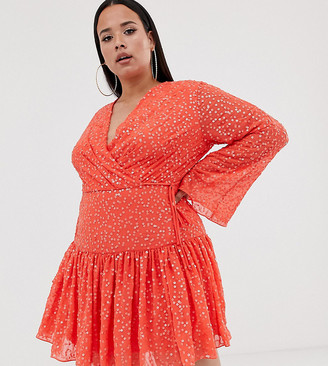 Asos DESIGN Curve mini wrap dress in all over sequin and flippy skirt-Orange