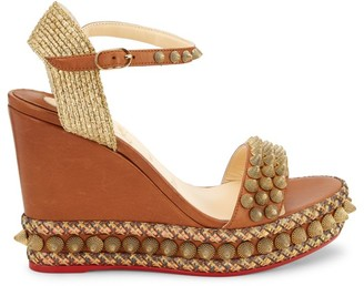 Christian Louboutin Cordorella Spiked Leather Platform Wedge Sandals