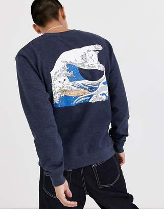 N. Rip Dip RIPNDIP Great Wave Crewneck in navy