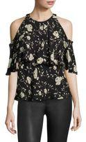 Polo Ralph Lauren Cold-Shoulder Silk Floral-Print Blouse