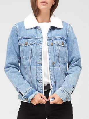 Very Faux Fur Lined Denim Jacket - Mid Wash