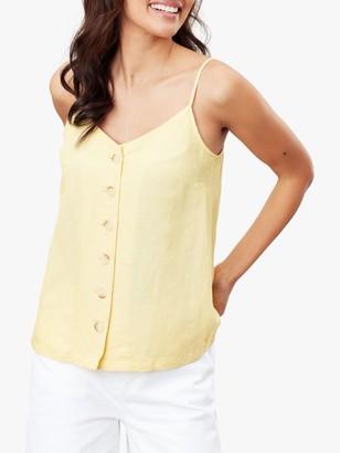 Joules Carper Button Through Cami Top, Yellow
