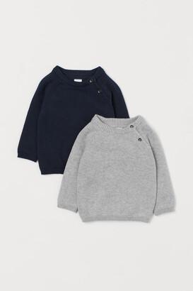 H&M 2-pack Fine-knit Sweaters - Blue
