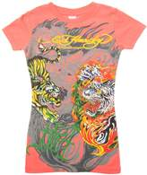 Ed Hardy Kids Girls Flaming Tiger Short Sleeve T-Shirt - Orange