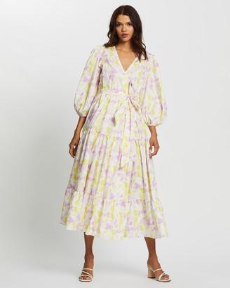 Glamorous Tie-Dye Print Midi Wrap Dress