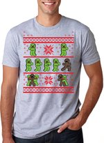 Crazy Dog T-shirts Crazy Dog Tshirts Mens Gingerbread Zombies Ugy Christmas Sweater T shirt GREY