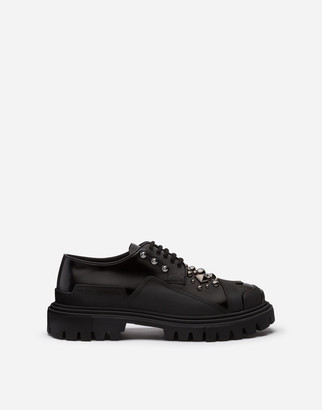 Dolce & Gabbana Polished Calfskin Trekking Derby With Stud Embroidery
