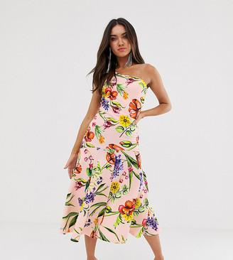 True Violet one shoulder skater dress with split in multi floral