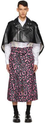 Comme des Garcons Black and Pink Faux-Leather Leopard Poncho Coat