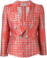 Armani Collezioni dogtooth patterned blazer - women - Silk/Cotton/Polyester - 44