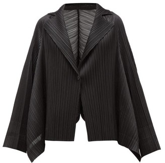 Pleats Please Issey Miyake Single-breasted Technical-pleated Blazer - Womens - Black