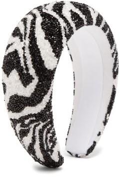Ganni Zebra-beaded Padded Headband - Black Multi