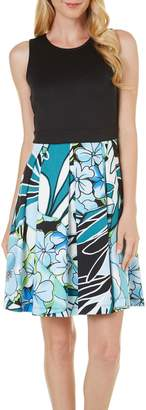 Gabby Skye Women's Sleeveless Round Neck Scuba Fit & Flare Dress