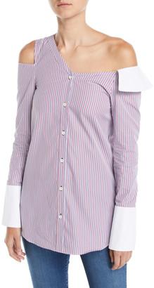 Monographie One-Shoulder Cutout Striped Button-Front Shirt