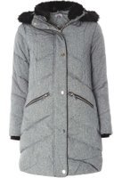 Dorothy Perkins Womens Petite Smart Grey Padded Coat- Grey