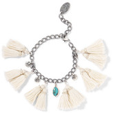 Chan Luu Tasseled Silver And Turquoise Bracelet - White