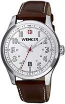 Wenger Terragraph Men's Quartz Watch with Dial Analogue Display and Brown Leather Strap 010541103