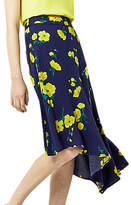 Warehouse Delia Flower Asymmetric Skirt, Blue/Multi