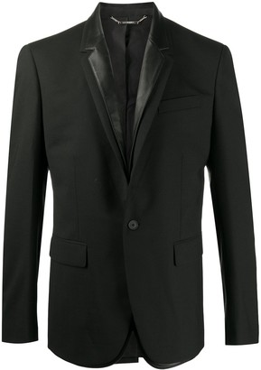 Les Hommes Leather-Trimmed Blazer