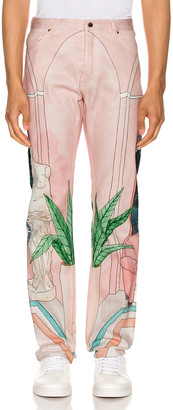 Casablanca Chambre 602 Printed Denim Jeans in Pink | FWRD