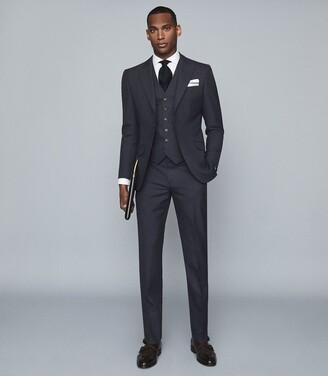 Reiss Enzo - Wool Slim Fit Waistcoat in Navy