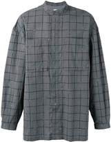 E. Tautz banded collar checked shirt