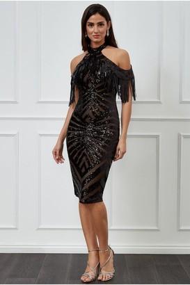 Goddiva Fringe Collar Sequin Midi Dress - Black