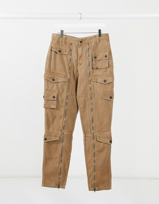 Jaded London twill cargo trousers with pockets in beige