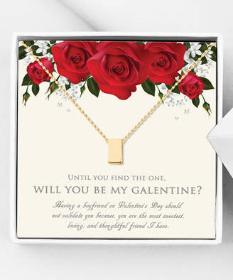 Anavia Jewelry Necklaces Gold - Goldtone 'Be My Galentine' Eternity Cube Necklace & Card