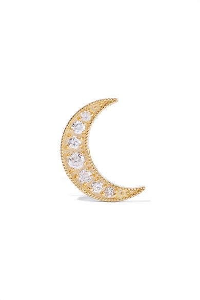 Andrea Fohrman Mini Crescent 18-karat Gold Diamond Earring