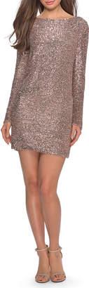 La Femme Sequin High-Neck Long-Sleeve T-Shirt Style Cocktail Dress