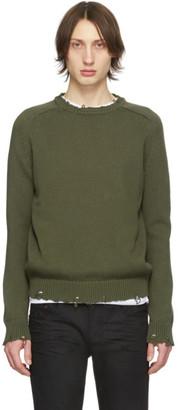 Saint Laurent Khaki Destroyed Knit Sweater