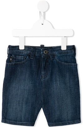 Emporio Armani Kids TEEN logo-plaque denim shorts