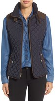 Gallery Petite Women's Quilted Vest With Faux Suede Trim
