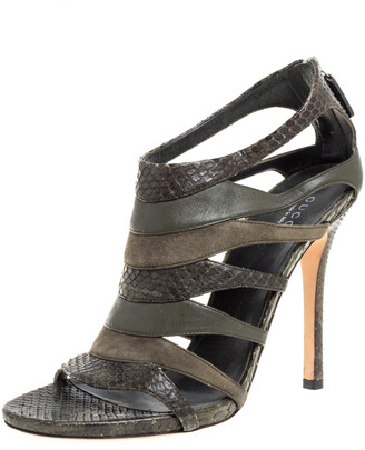 Gucci Green Python and Suede Gladiator Sandals Size 38