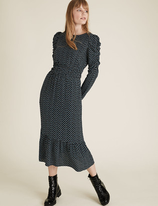 Marks and Spencer Geometric Puff Sleeve Midi Waisted Dress