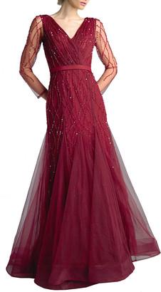 Basix II Beaded V-Neck Long-Sleeve Godet A-Line Gown
