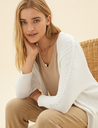 Marks and Spencer Linen Ribbed Longline Cardigan