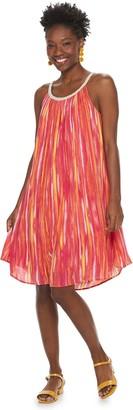 Nina Leonard Women's Print Braided-Trim Trapeze Dress