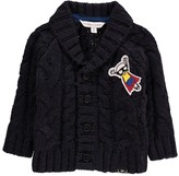 Little Marc Jacobs Shawl Collar Cardigan with Super Hero Patches